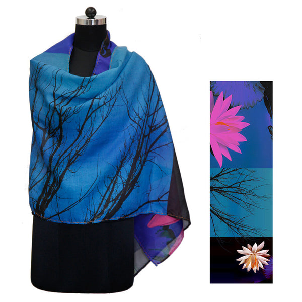 Leaf Designs Blue & Black Floral Stole