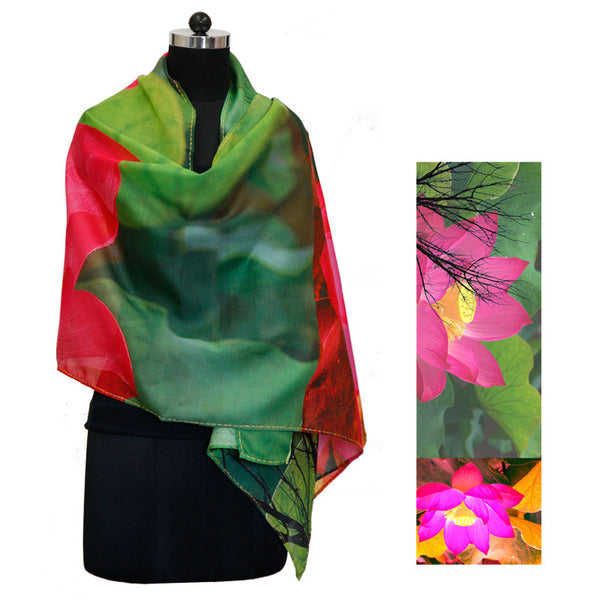 Leaf Designs Hot Pink & Green Floral Stole