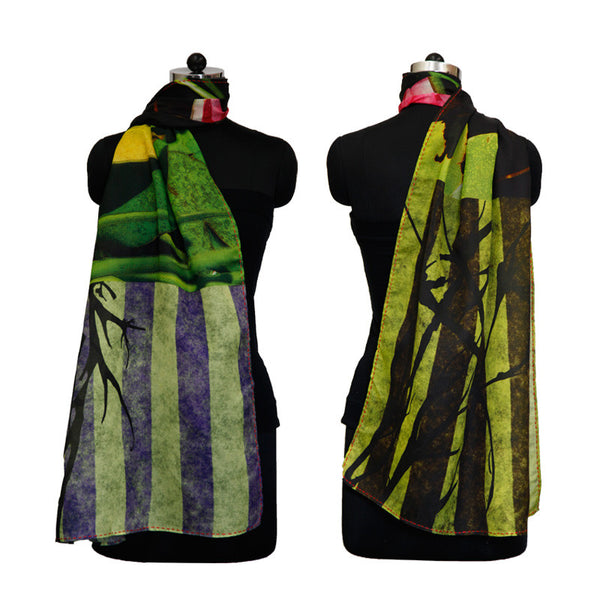 Leaf Designs Green & Black Stripes Floral Stole