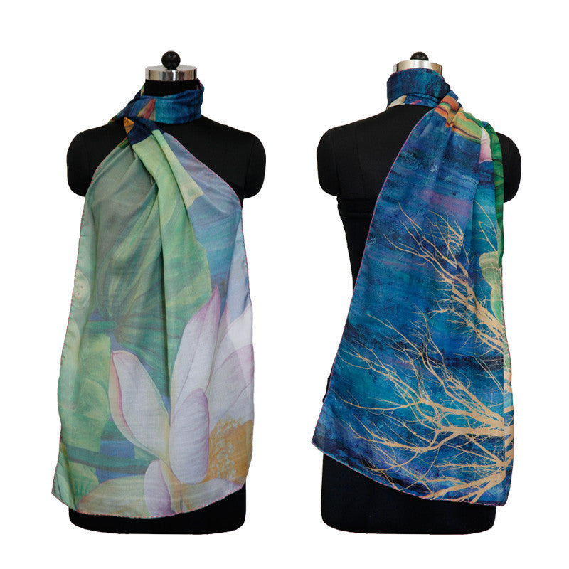 Leaf Designs Blue & Green Floral Stole