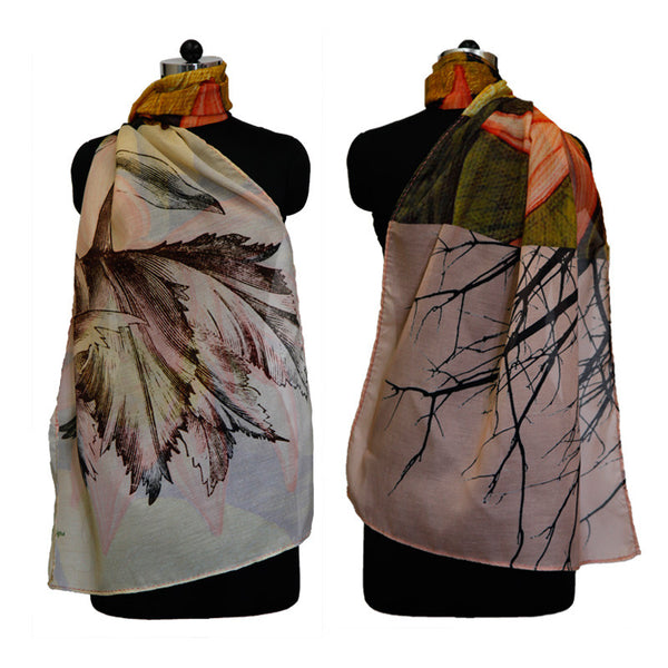 Leaf Designs Multicoloured Lotus Floral Stole