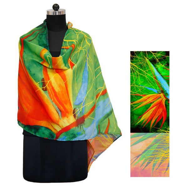 Leaf Designs Green & Yellow Floral Stole