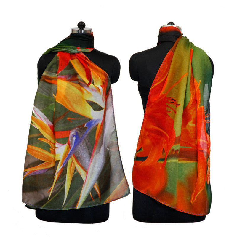 Leaf Designs Red & Yellow Floral Stole