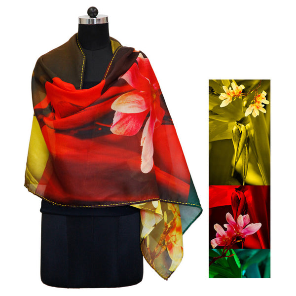 Leaf Designs Color Blocked Floral Stole