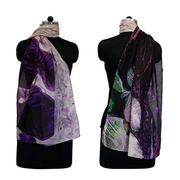Leaf Designs Black & Purple Floral Stole