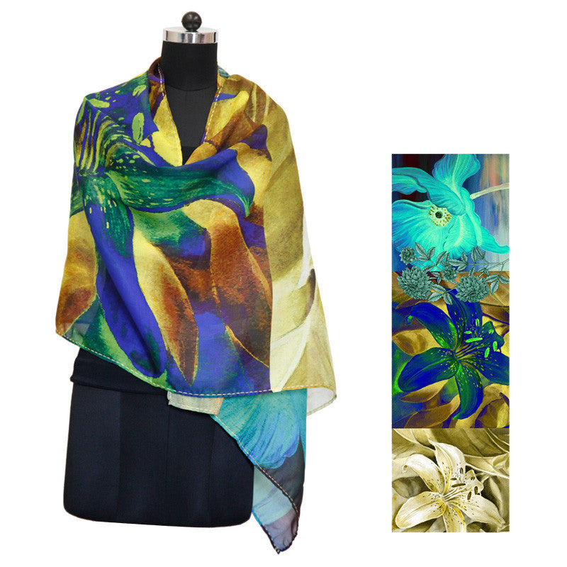 Leaf Designs Blue & Yellow Floral Stole