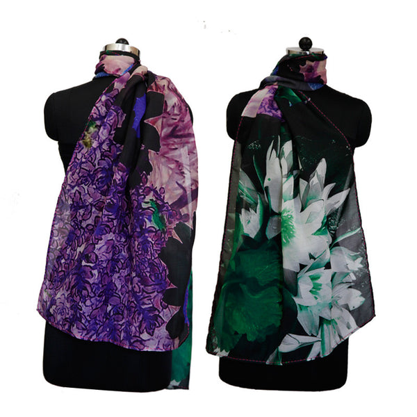 Leaf Designs Green & White Floral Stole