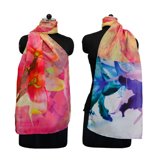Leaf Designs Pink & Yellow Floral Stole