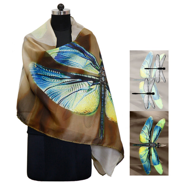 Leaf Designs Multicoloured Dragonfly Floral Stole