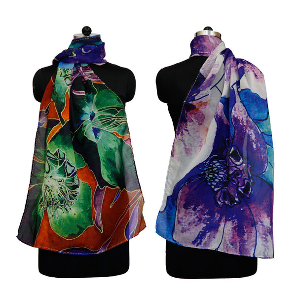 Leaf Designs Blue & Orange Floral Stole