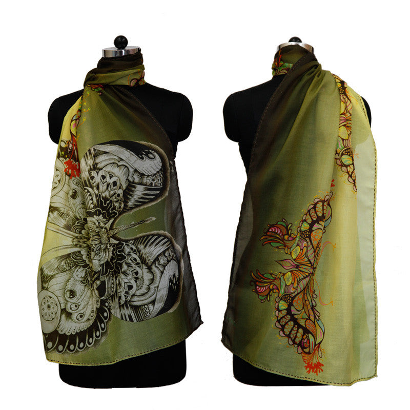 Leaf Designs Multicoloured Butterfly Floral Stole