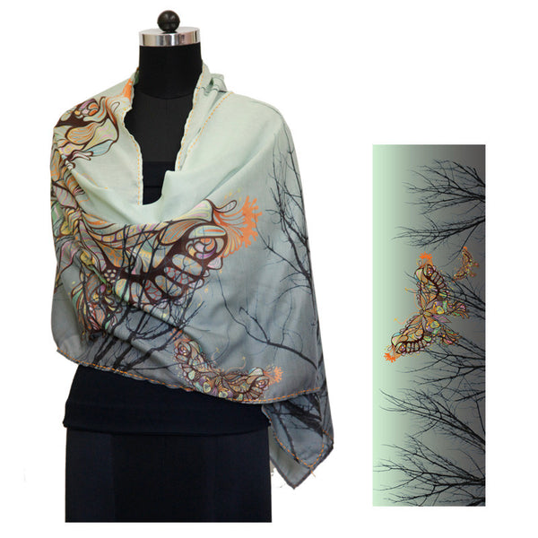Leaf Designs Multicoloured Butterfly And Stems Floral Stole