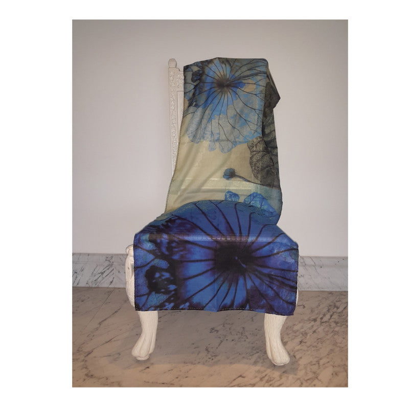Leaf Designs Blue Floral Stole