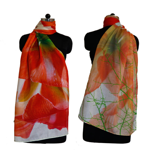 Leaf Designs Orange Floral Stole