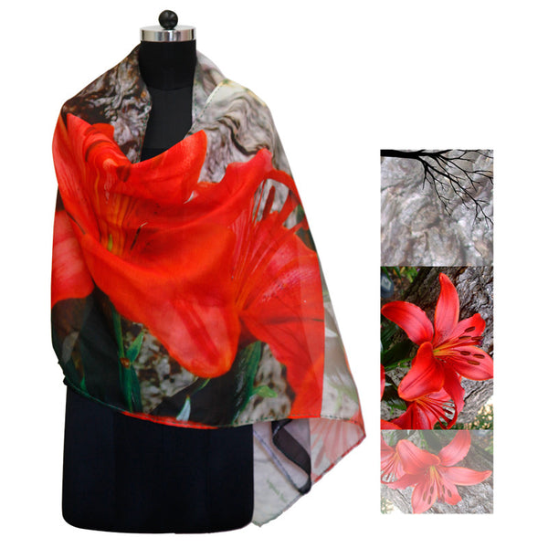 Leaf Designs Red Floral Stole