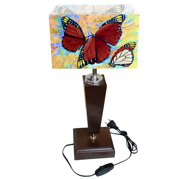 Leaf Design Red Butterfly Table Lamp