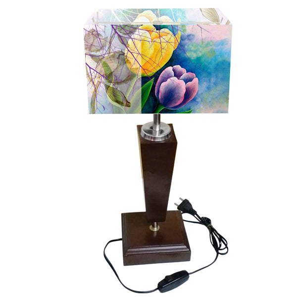 Leaf Design Yellow & Purple Floral Table Lamp