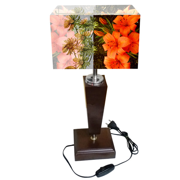 Leaf Design Orange Floral Table Lamp