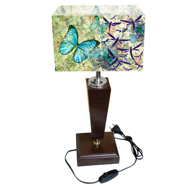 Leaf Design Blue Butterfly Table Lamp