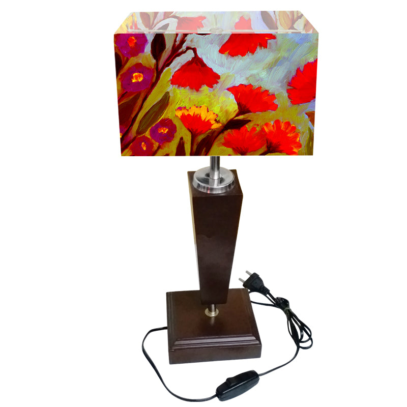 Leaf Design Red & Green Floral Table Lamp