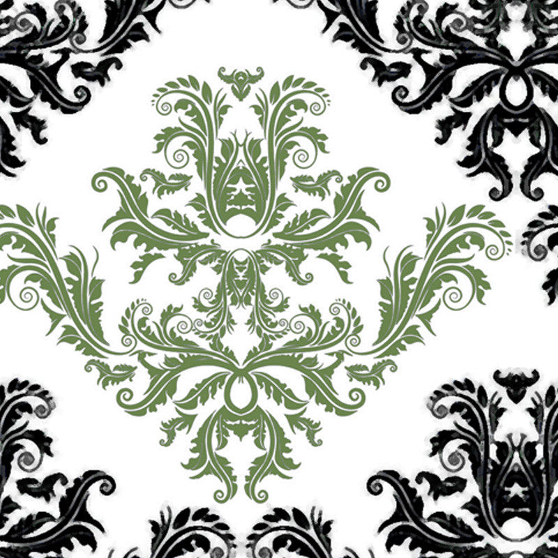 Leaf Designs Green & White Pattern Fabric Table Mats - Set Of 6