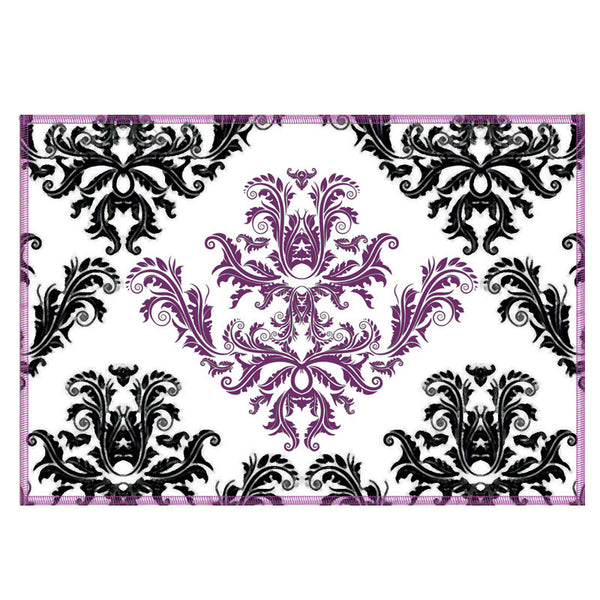 Leaf Designs Purple & White Pattern Fabric Table Mats - Set Of 6