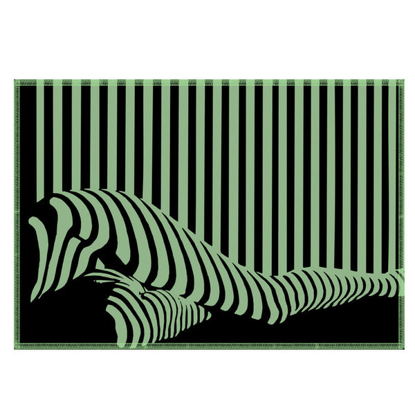 Leaf Designs Green & Black Illusion Fabric Table Mats - Set Of 6