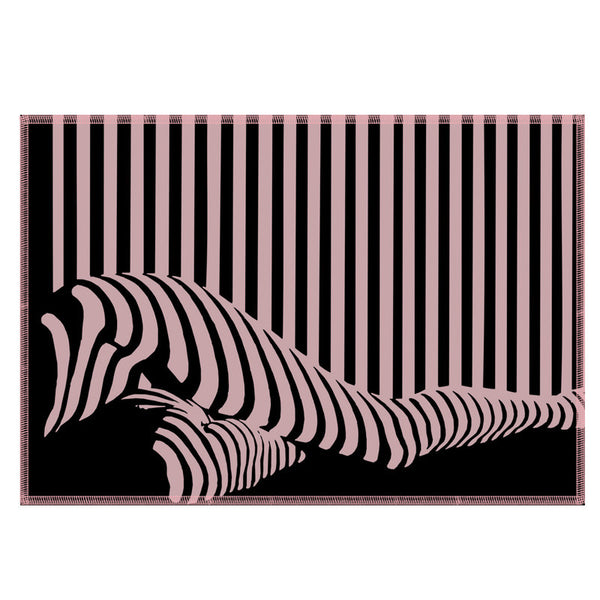 Leaf Designs Black & Pink Illusion Fabric Table Mats - Set Of 6