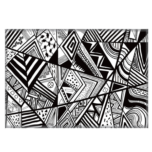 Leaf Designs Black & White Geometric Fabric Table Mats - Set Of 6