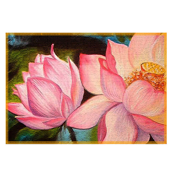 Leaf Designs Pink Lotus Fabric Table Mats - Set Of 6