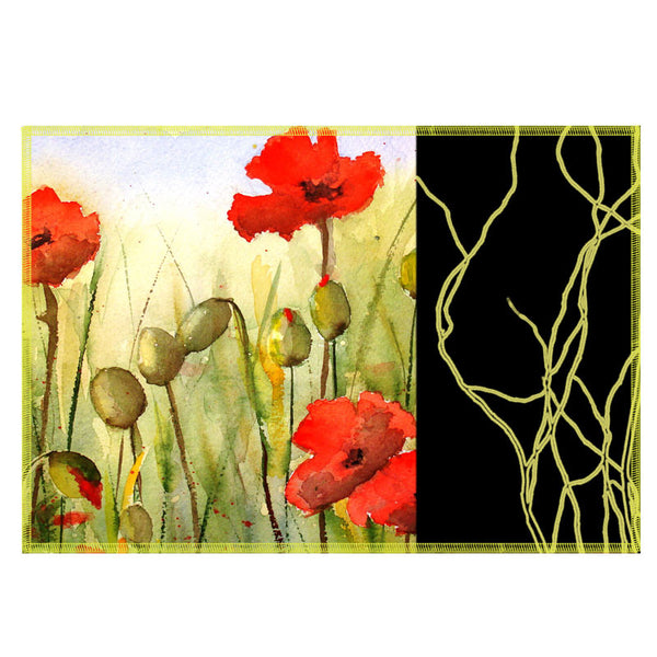 Leaf Designs Black Band & Red Floral Fabric Table Mats - Set Of 6