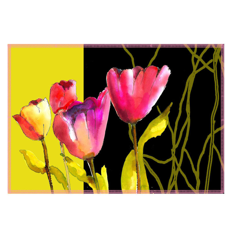 Leaf Designs Yellow Band & Pink Tulips Fabric Table Mats - Set Of 6