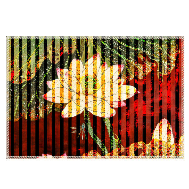 Leaf Designs Multicoloured Stripe Floral Fabric Table Mats - Set Of 6