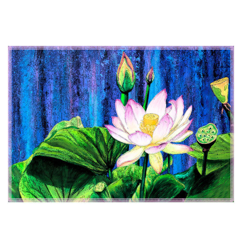 Leaf Designs Blue & Green Lotus Fabric Table Mats - Set Of 6