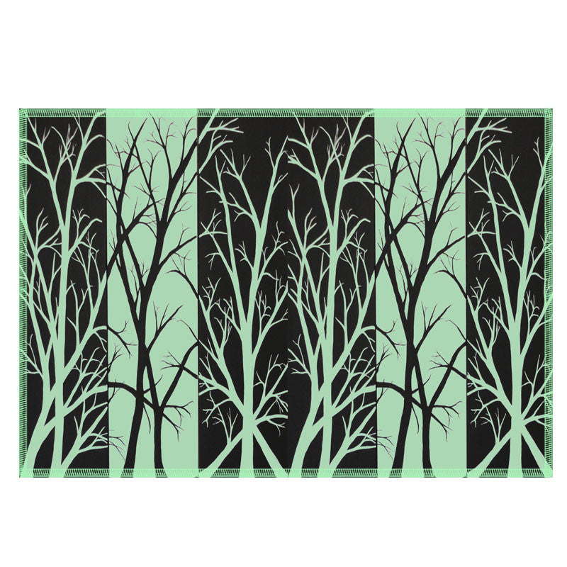 Leaf Designs Black & Green Fields Fabric Table Mats - Set Of 6