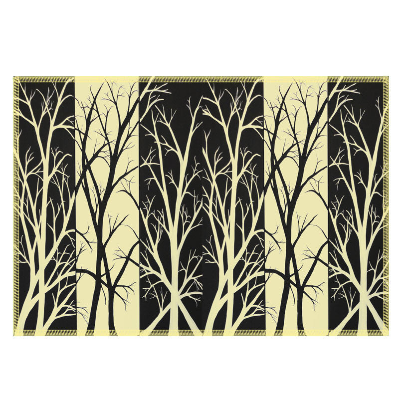 Leaf Designs Black & Yellow Fields Fabric Table Mats - Set Of 6