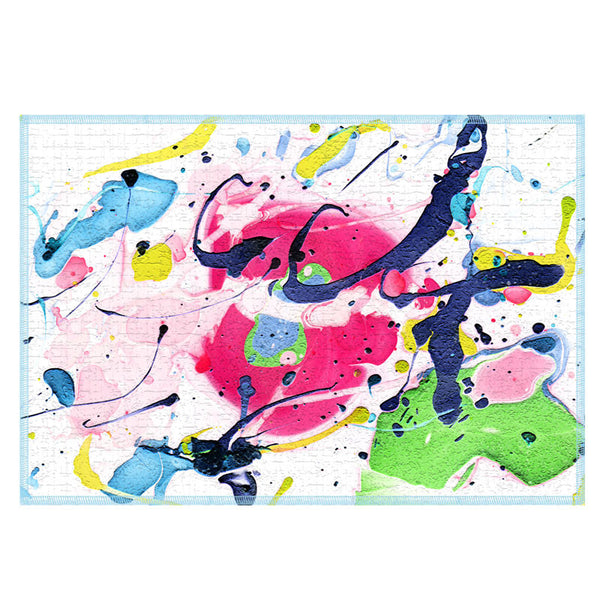 Leaf Designs Multicoloured Paint Splash Fabric Table Mats - Set Of 2