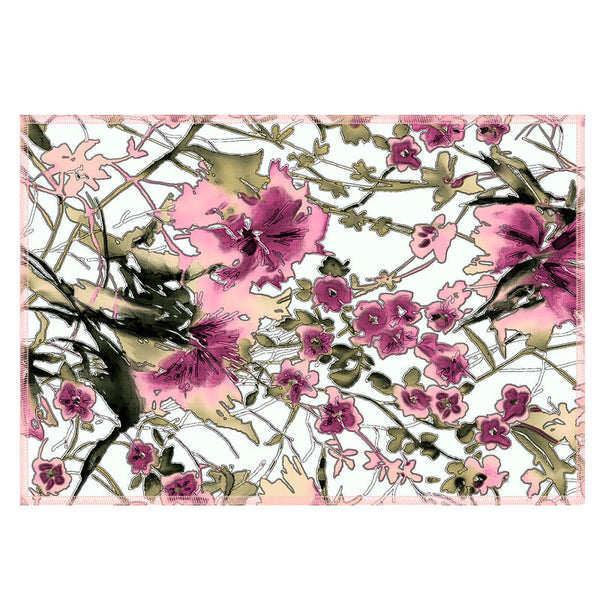 Leaf Designs Ink Outline Pink Floral Fabric Table Mats - Set Of 6