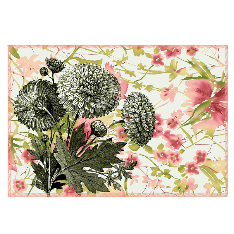 Leaf Designs Watercolour & Vintage Floral Fabric Table Mats - Set Of 6