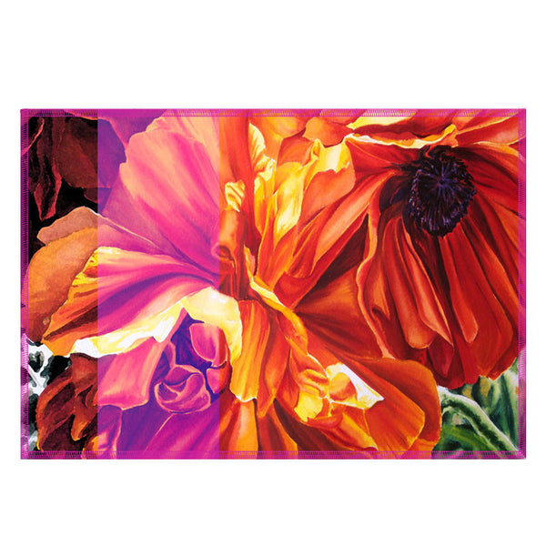Leaf Designs Multicoloured Hues Floral Fabric Table Mats (A) - Set Of 6