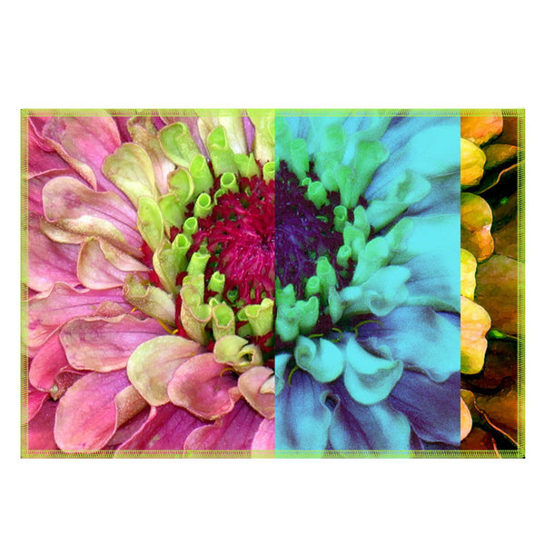 Leaf Designs Multicoloured Blue Hues Floral Fabric Table Mats - Set Of 6