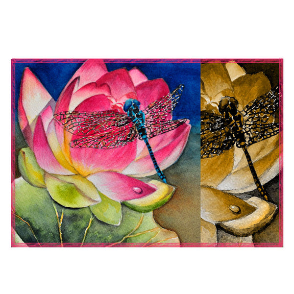 Leaf Designs Multicoloured Dragonfly Fabric Table Mats - Set Of 6