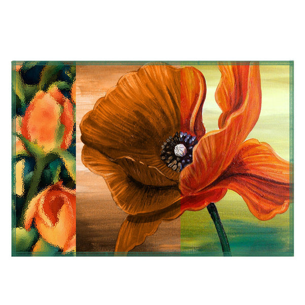 Leaf Designs Orange Floral Fabric Table Mats - Set Of 6
