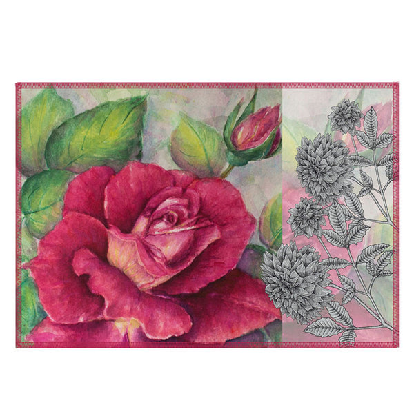 Leaf Designs Antique Rose Fabric Table Mats - Set Of 6