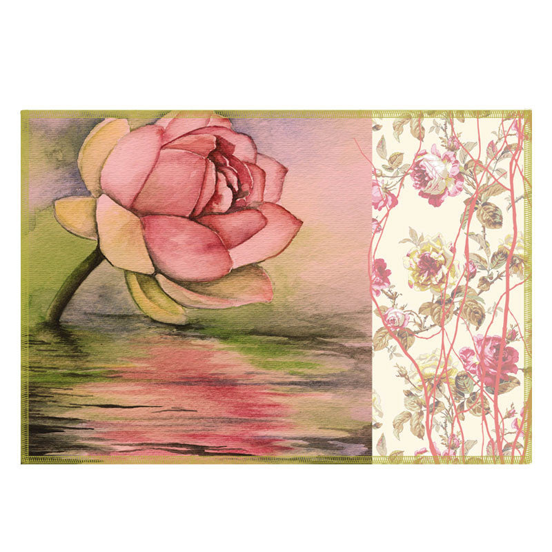Leaf Designs Pink Rose Fabric Table Mats - Set Of 6