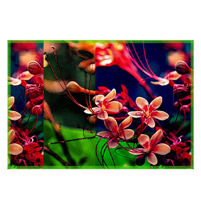 Leaf Designs Multicoloured Frangipani Fabric Table Mats - Set Of 6