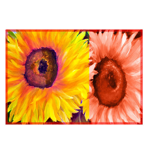 Leaf Designs Yellow & Orange Floral Fabric Table Mats - Set Of 6