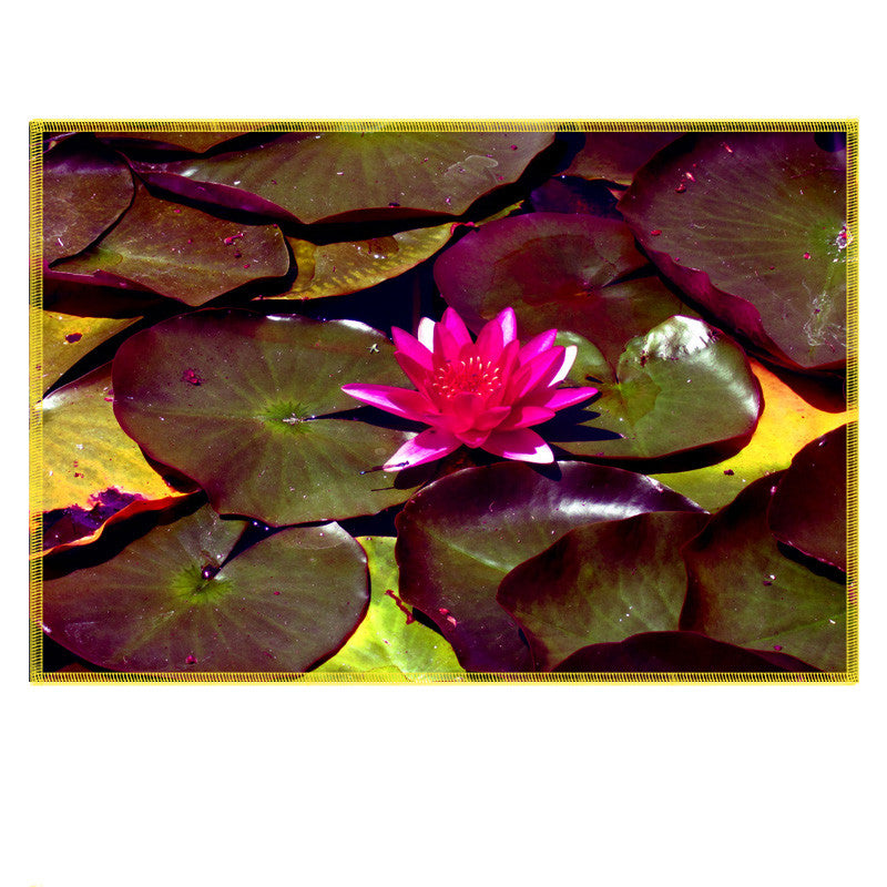 Leaf Designs Fuchsia Lotus Fabric Table Mats - Set Of 6