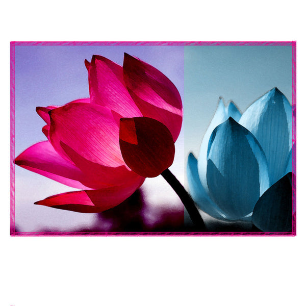 Leaf Designs Fuchsia & Blue Shaded Lotus Fabric Table Mats - Set Of 6