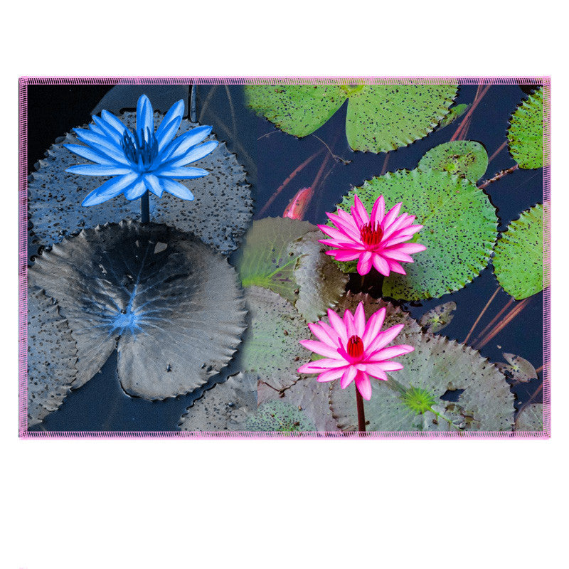 Leaf Designs Blue & Pink Lotus Fabric Table Mats - Set Of 6